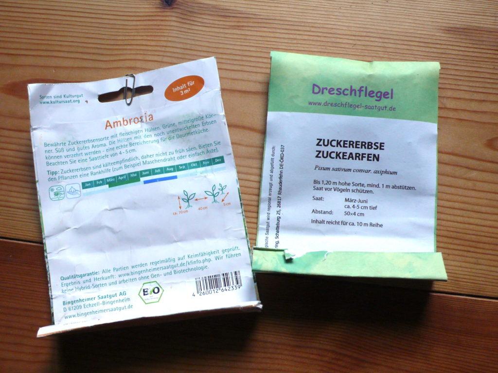 Packung der Zuckererbsensorte Ambrosia und Zuckearfen